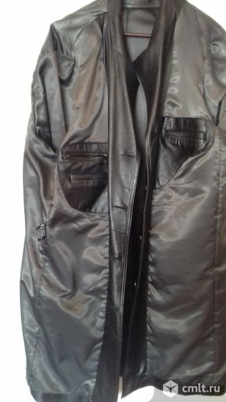 Продам кожаный плащ  размер 58-60. Фото 8.