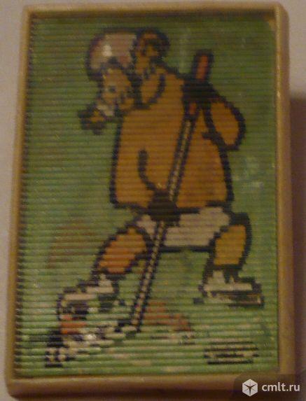 Значок-переливашка, детский, медведи, цирк, хоккей, спорт, СССР.. Фото 1.