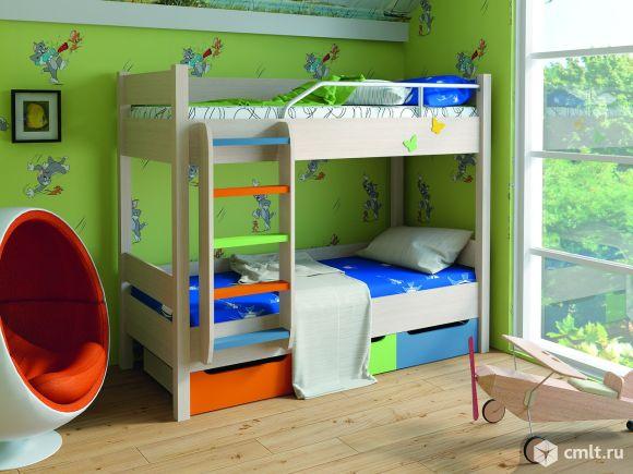Кровать двухъярусная детская новая, выдвижные ящики