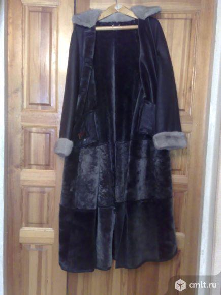Дублёнка кожаная длинная чёрная