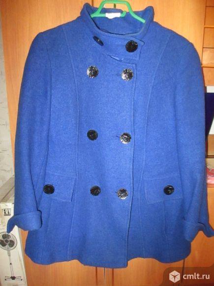 Полупальто демисезонное женское шерстяное, цв. темно-синий