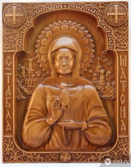 Резная деревянная 3D икона Святая Матрона Московская. Фото 1.