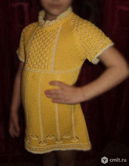 Платье вязаное для девочки 3-5 лет. Фото 1.
