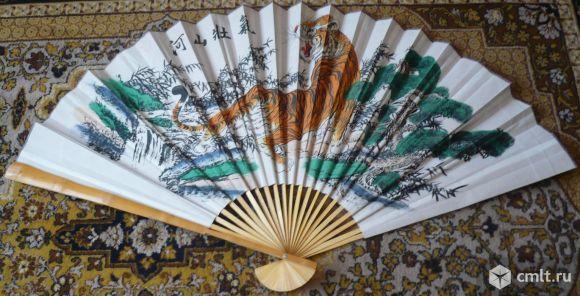 Винтажный веер на стену, 89 см, тигр, Китай или Япония.. Фото 1.