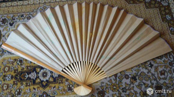 Винтажный веер на стену, 89 см, тигр, Китай или Япония.. Фото 2.