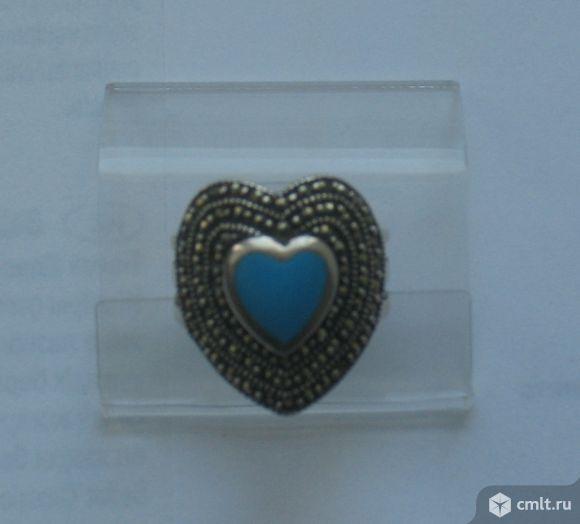серебро кольцо сердце марказит эмаль