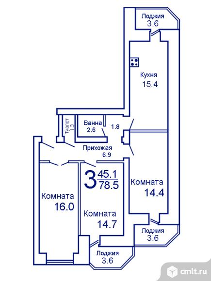 3-комнатная квартира 78,5 кв.м