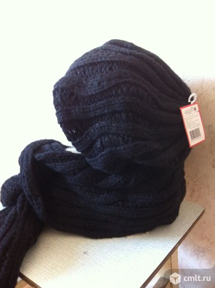 Шапка с шарфом вязаные, цв. черный, р. 57, комплект, новый