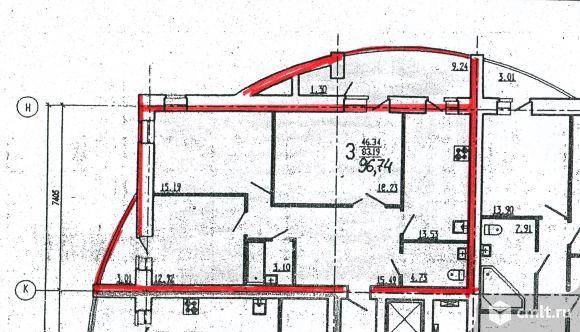 3-комнатная квартира 96,74 кв.м