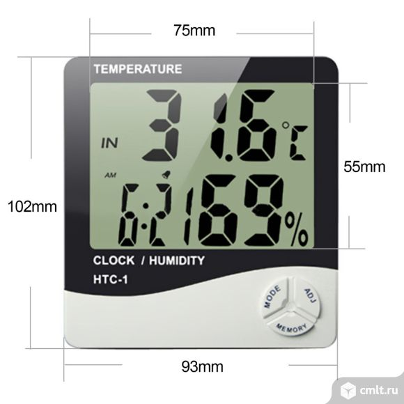 Метеостанция термометр, гигрометр, часы