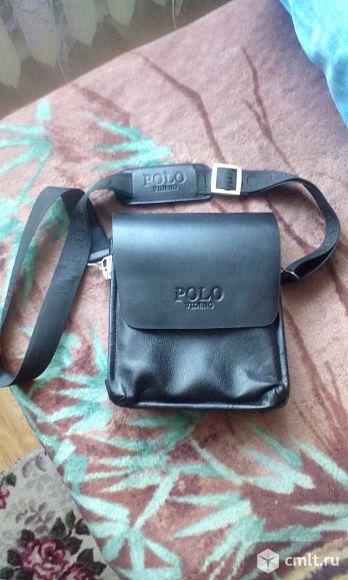 Мужская кожаная сумка на ремне Polo