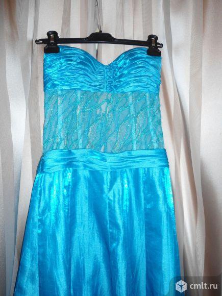 Платье для выпускного вечера, р. 44-46, цв. бирюзовый, б/у