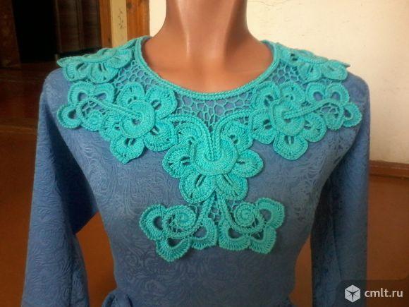Вязаный воротничок к блузке или платью. Фото 1.