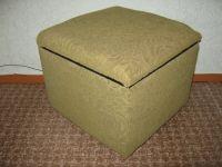 Удобный мягкий пуф с вместительным внутренним ящиком для белья