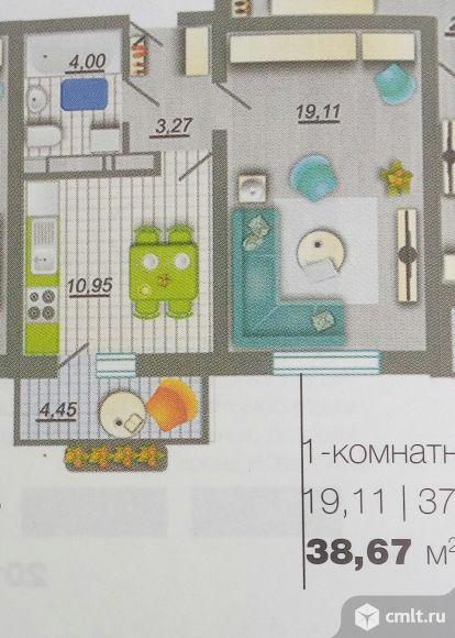 1-комнатная квартира 38,67 кв.м