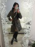 пальто демисезонное с капюшоном тёплое женское приталенное с поясом