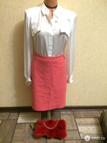 Продаю  драповую юбку светло-кораллового цвета.. Фото 1.