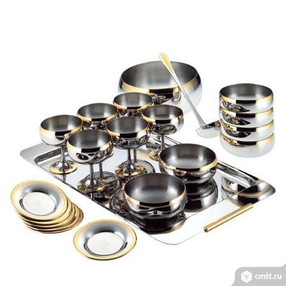 Комплект посуды Барон Цептер стальной с золотом