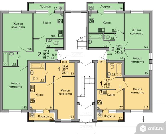 1-комнатная квартира 28,1 кв.м