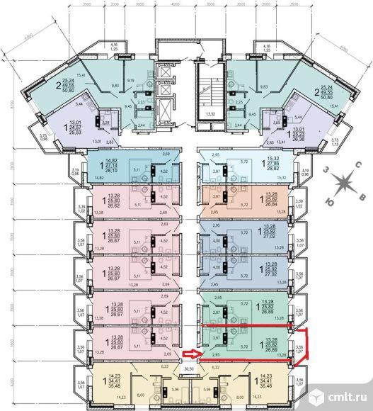 """1-комнатная квартира-студия 26,89 кв.м,ЖК """"Звездный квартал"""",поз.8.Варианты этажей!"""