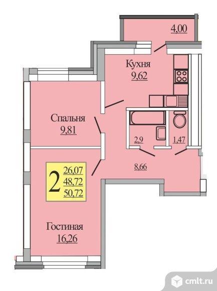 2-комнатная квартира, Микрорайон Южный, Новая Усмань, Полевая 44б -2 очередь. Общая площадь застройки -10га.