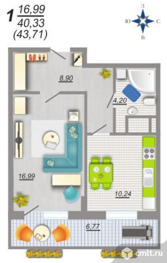 1-комнатная квартира 43,71 кв.м