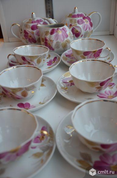 Дулево. Сервиз чайный  «Пурпурный цветок».