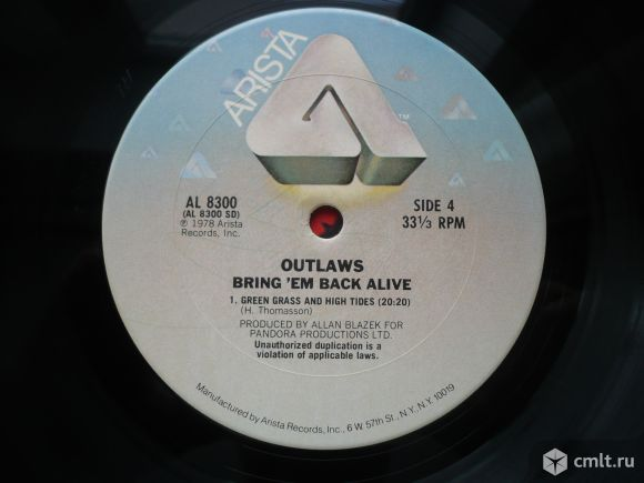 "2 грампластинки (винил). Гигант [12"" LP]. The Outlaws. Bring It Back Alive. 1978 Arista Records. USA. Фото 8."