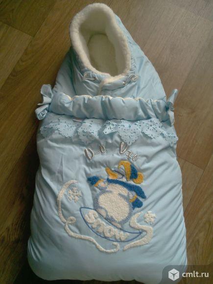 Красивый меховой конверт-одеялко. Фото 1.