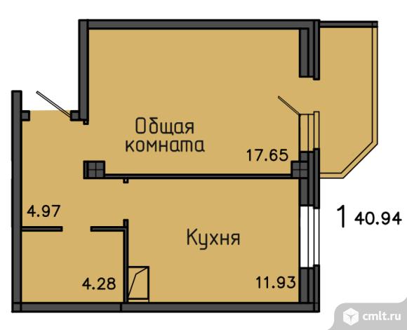 1-комнатная квартира 40,94 кв.м