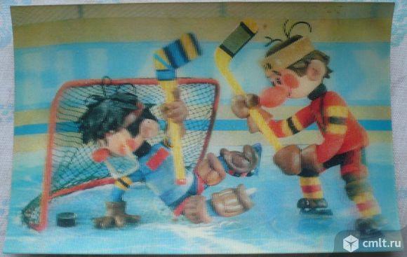 """Карманный календарик, стерео (3D), 1988. Хоккеисты. По мотивам мультфильма """"Шайбу! Шайбу!"""". СССР.. Фото 1."""