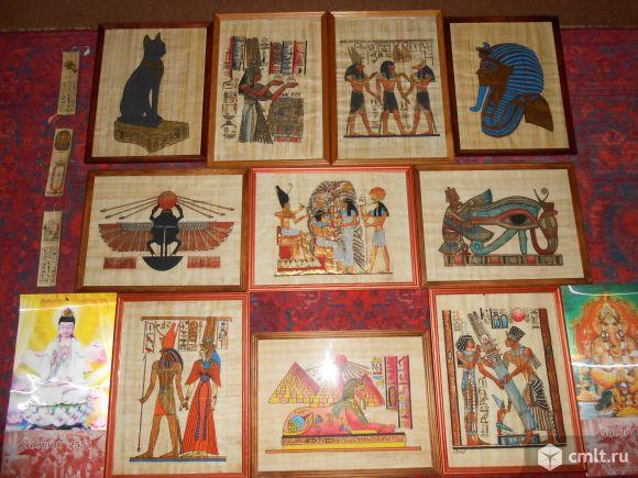 Папирус из Египта в деревянных рамках со стеклом