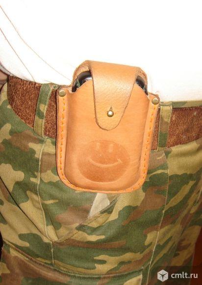 Кожаный чехол для телефона Ланд Ровер. Фото 1.