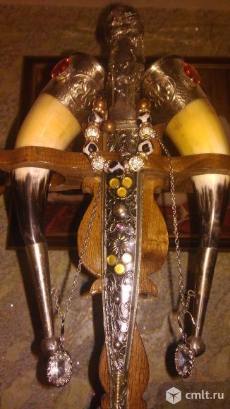 Набор свадебный 2рога с декоративным кинжалом
