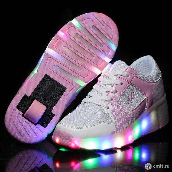 Кроссовки светящиеся на роликах, колесиках heelys. Фото 1.