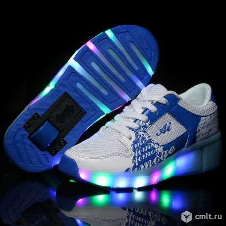 Кроссовки светящиеся на роликах, колесиках heelys. Фото 2.