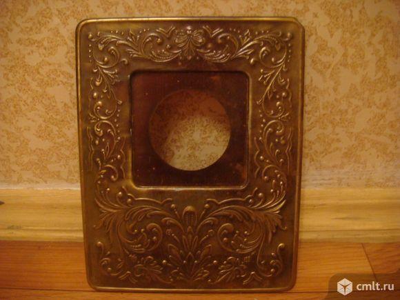 Панель рамка декоративная выключатель СССР ( латунь ). Фото 1.