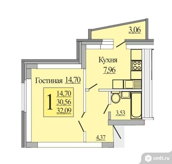 1-комнатная квартира 32,09 кв.м