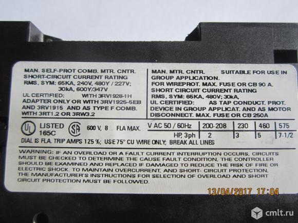 Автоматический выключатель Siemens 3RV1021-1CA10