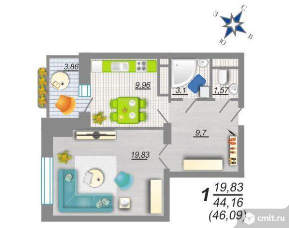1-комнатная квартира 46,09 кв.м