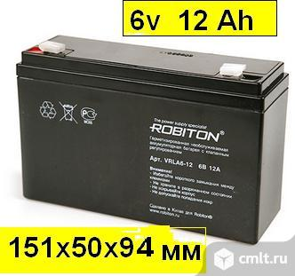 Аккумулятор для детских машинок Robiton 6v 12 Ah 151x50x94 mm в Белгороде. Фото 1.