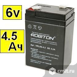 Аккумулятор Robiton  VRLA6-4.5_6 вольт, 4,5 А/час_70 х 47 х 100 мм. Фото 1.