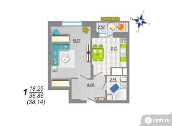 1-комнатная квартира 38,14 кв.м