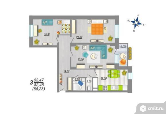 3-комнатная квартира 84,23 кв.м