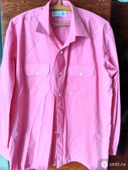 Рубашка розовая с длинным рукавом