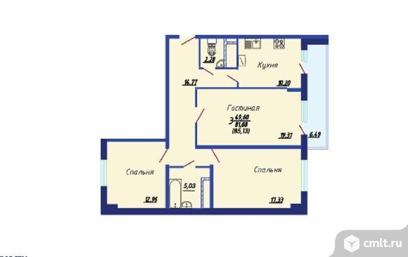 3-комнатная квартира 86 кв.м