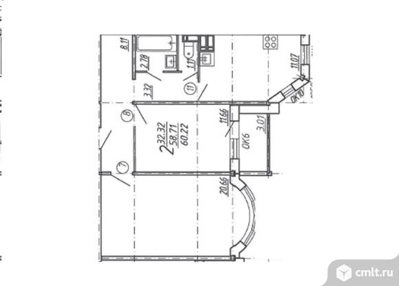 2-комнатная квартира 60,22 кв.м