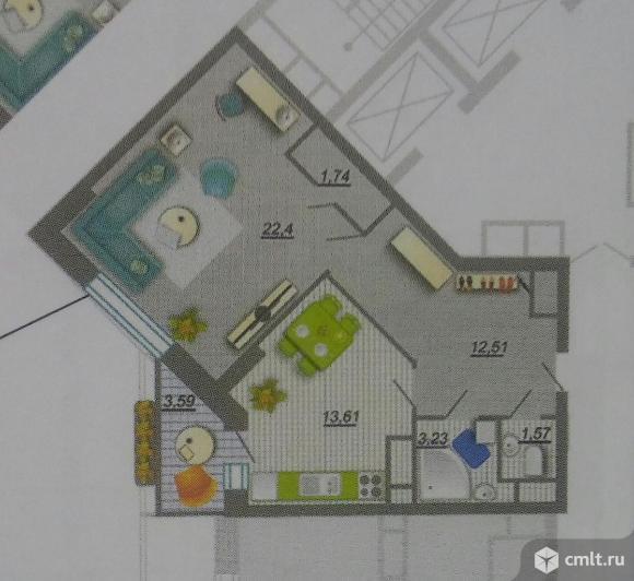 1-комнатная квартира 57,87 кв.м
