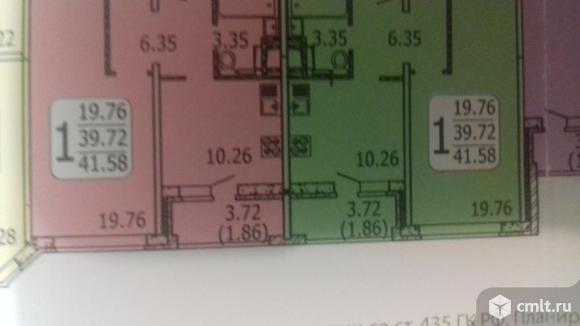 1-комнатная квартира 41,58 кв.м