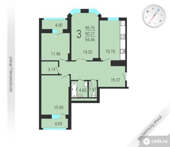 3-комнатная квартира 98 кв.м